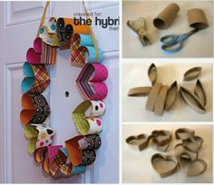 DIY Easy projects for kids part 2 heart wreath Toilet Roll Craft, Toilet Paper Roll Art, Rolled Paper Art, Toilet Paper Roll Crafts, Tissue Roll Crafts, Projects For Kids, Diy For Kids, Diy And Crafts, Craft Projects