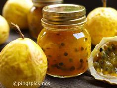 Golden Passionfruit Jam | Ingredients 10 passionfruits juice of 1/2 lemon 2 cups sugar Preparation 1Wash the passionfruits.2Halve and scoop out the pulpy seeds. Put aside in the fridge.3Put half the quantity of the shells in a pot and fill with enough water to just cover the tops. Boil for about 30 - 40 mins or until it turns [] Jam Recipes, Canning Recipes, Sweet Recipes, Passionfruit Recipes, Jam And Jelly, Fruit Jam, Learn To Cook, Food Processor Recipes, Biscuits