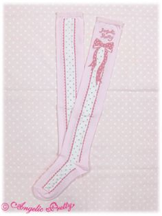 Angelic Pretty / Socks / Polkadot Ribbon Logo OTK Socks