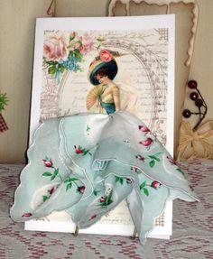 Victorian Lovely Lady Keepsake Hanky Card by onceuponahanky