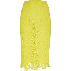 Yellow lace midi pencil skirt £45 #riverisland