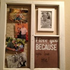 Old window, old frame, chicken wire, little bit of paint, piece of scrapbook paper and a few tiny clothespins...