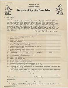 Ku Klux Klan application, circa 1920s.