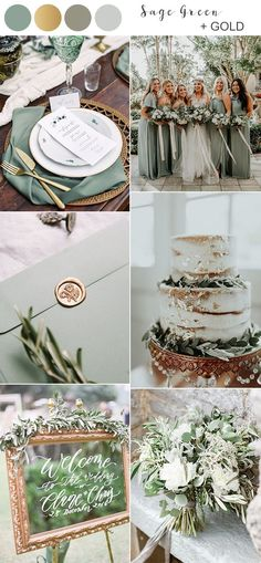 Top 10 Fall Wedding Colors for 2019 Trends You'll Love. sage green and gold fall wedding color ideas for Having a fall wedding is all about bringing a sense of coziness and richness to your big day, and that's why autumn is always the. Fall Wedding Colors, Wedding Color Schemes, Summer Wedding, Dream Wedding, Wedding Day, Color Themes For Wedding, Wedding Favors, Wedding Menu, October Wedding Colors