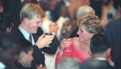 Prince Willem Alexander (at the time) of the Netherlands at a banquet in Tokyo with Diana, Princess of Wales
