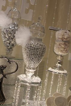 BY TASTY TABLES: white candy buffet, bling candy buffet