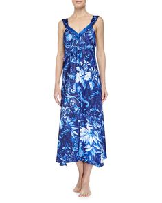 Twilight Vines Printed Long Gown, Blue, Women's, Size: L, Blue Pattern - Oscar de la Renta