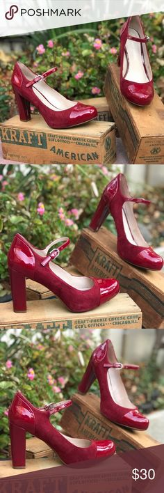 Nina Black Leather Think High Heel Maryjane Buckle Square