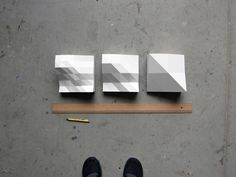 3 study models (subdivision 2.5 cm, 5.0 cm, 10.0 cm) / cnc milled ureol, painted / each 20 x 20 cm | © Peter Jellitsch 2012
