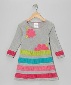 Take a look at this Gray Flower Shirred Stripe Dress - Girls by Freckles + Kitty on #zulily today!