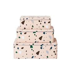 Tin box Terrace by Ferm Living. The Terrazzo di ferm living tin box is the ideal aid to keep small and large objects in order: from pens to toys,