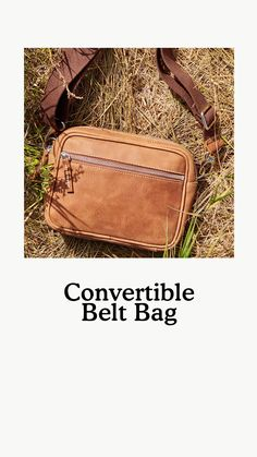 Designed and handcrafted in Canada, our Convertible Belt Bag is a hands-free style that can be worn three ways: around the body, across the body or as a waist pack. Functional and versatile, it features a zippered main compartment, a front zipper pocket, an interior zipper pocket, an adjustable strap and our signature Salt & Pepper lining. Waist Pack, Convertible, Messenger Bag, Satchel, Belt, Leather, Belts, Infinity Dress, Waist Belts