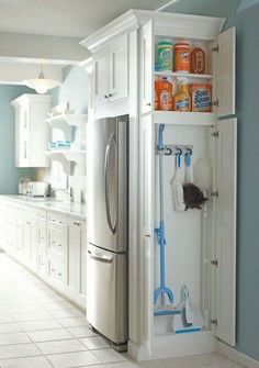 Install a small closet in the kitchen to store cleaning supplies - 37 Home Improvement Ideas