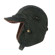 3bd0f87b1e9  SIGGI Aviator Hat Faux Leather Pilot Cap  Adult Men Winter  Trapper  Hunting Hat