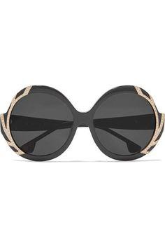 ebec7649c35 Alice Olivia - Stacey Swarovski Crystal-embellished Round-frame Acetate  Sunglasses - Black - one size