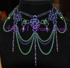 Great use of maille, chain and eye pins. chain maill, maill necklac, chainmaill, scale maille necklace
