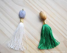 Want to make a simple yet stunning tassel necklace without having to do to much beading? Try my Simple Suede Tassel Necklace tutorial. This necklace is a part of my ever-growing boho jewelry collection found on my Jewelry + Fashion Page. Beaded Tassel Necklace, Tassel Jewelry, Beaded Jewelry, Jewellery, Monogram Necklace, Diy Tassel, Tassels, Buddha Beads, Necklace Tutorial