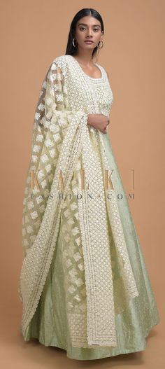 Laurel green anarkali suit in raw silk with pearls and kundan work. Border enhanced with thread embroidered lace in jaal pattern. Indian Dresses, Indian Outfits, Wedding Salwar Kameez, Elegant Saree, Anarkali Suits, Embroidered Lace, Designer Wear, Hijab Fashion, Party Wear