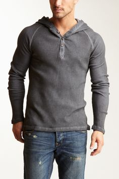 Cohesive & Co Yudi Henley - this clean & fitted henley meets hoodie shows that casual can be classy.