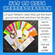 It's getting to that time of year... time to say goodbye to our lovely classes and start planning for 2017/18!These very fun bookmarks have been lovingly worded so your kiddo's will know just how much they have meant to you this year. A variety of wording so you can choose which will best suit your reading levels.I call these bookmarks but they're very versatile.