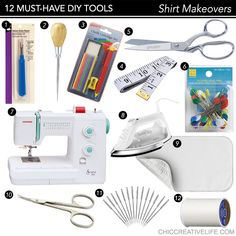 Wanting to get started upcycling, refashioning, and making over shirts into cute clothing for yourself? You're going to need these tools for success! Click through to see the list...plus, why do I recommend an awl??   #sewing #diy #shirtmakeover #diyshirt #howto #sewingtools #creative #crafting