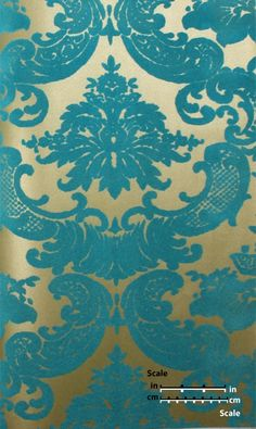 Plush Flocked Wallpaper Classical Damask Gold Leaf/Teal Velvet | designyourwall.com