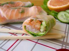 Rouleau de printemps au saumon gravlax et suprême de pamplemousse