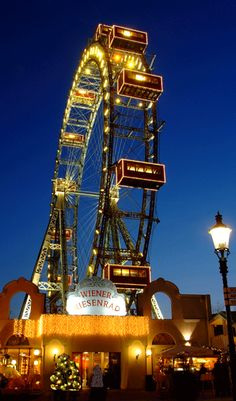 Wienerriesenrad - Vienna, Austria.  The Vienna giant ferris wheel, a landmark visible from afar on the Vienna skyline.
