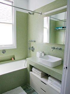 All green mosaic bathroom