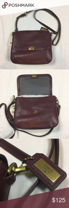 Fossil Amanda Leather Crossbody NWT Maroon Brand new with tags. 100% authentic. Adjustable strap. Interior zipper pocket and open pocket. External pocket on back. Twist lock closure in front. Fossil Bags Crossbody Bags