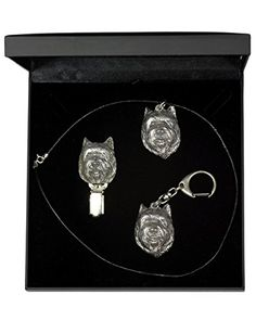 NEW, Cairn Terrier, dog keyring, necklace and clipring in casket, DELUXE set, limited edition, ArtDog * You can get additional details at the image link.