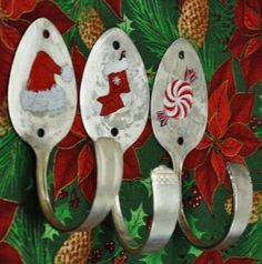 3 Silver Spoons Hand Painted Holiday Combo Hooks  by jjevensen, $45.00
