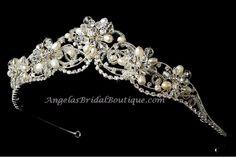 Freshwater Pearl & Swarovski Crystal Tiara ~ Silver or Gold
