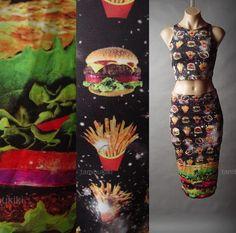 Burger-Fries-Novelty-Digital-Photo-Print-Crop-Top-Pencil-Skirt-41-mv-Set-S-M-L