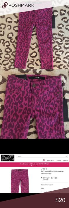 NWT Girls Joe's Jeans Jeggings Brand new with tags. Joe's Jeans jeggings in wild orchid leopard print. Size 2. 98% cotton, 2% spandex. Joe's Jeans Bottoms Leggings