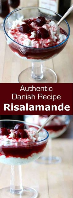 Risalamande is a traditional Danish rice pudding with almonds topped with sour cherries, served the night before Christmas Eve (lillejuleaften) #Denmark #Scandinavian #Christmas #196flavors