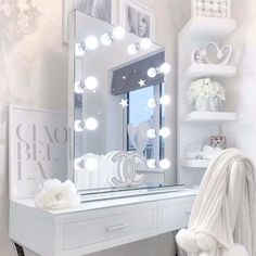 Diaz Hollywood Mirror Portrait 80 x Free Standing + Wall Mounted Dressing Table With Chair, Dressing Table Mirror, Dressing Room, Lights Around Mirror, Makeup Mirror With Lights, Hollywood Mirror With Lights, Lighted Vanity Mirror, Bulb Mirror, Home Decor Ideas