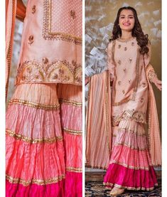 Paired with dupatta and Sharara which define with color - Designer Dresses Couture Sharara Designs, Kurti Designs Party Wear, Shadi Dresses, Pakistani Formal Dresses, Pakistani Dress Design, Pakistani Designer Suits, Pakistani Fashion Party Wear, Pakistani Wedding Outfits, Indian Fashion
