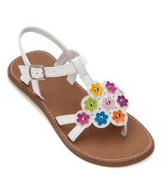 This Rachel Shoes White & Pink Studded Flower Lil' Gabi Sandal by Rachel Shoes is perfect! #zulilyfinds