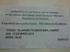 Gala solidaria en el colegio Santo Tomás de Villanueva, sábado 17 mayo, más cartel   Informa Mario 616453927 WhatsApp info@extragrupo.org