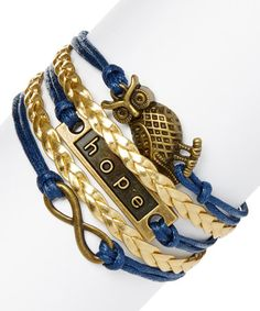 Another great find on #zulily! Navy & Bronze Infinity, Hope & Owl Bracelet #zulilyfinds