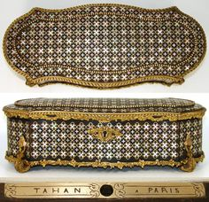 "Rare Antique French TAHAN Marked 12"" Jewelry Box, Exquisite Brass & Mother of Pearl Inlay"