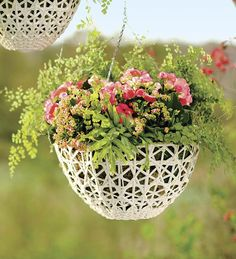 Large Open Weave Resin Wicker Hanging Basket plow and hearth