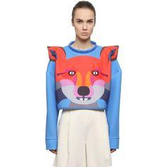 YANG DU Fox Printed Neoprene Cropped Sweatshirt (725 AUD) ❤ liked on Polyvore featuring tops, hoodies, sweatshirts, blue, white sweatshirt, white long sleeve top, blue top, neoprene crop top and cropped sweatshirt