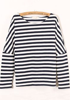905f9e8c6b38b Navy Blue Striped Long Sleeve Cotton Blend Sweatshirt. SNA II · Muslimah  shirt · Wish