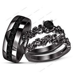 1.30 Ct White Simulated Diamond 14K Black Gold Fn His&Her Trio Wedding Ring Set