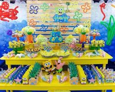 bob esponja decoração de festa infantil Birthday Themes For Boys, 9th Birthday Parties, Birthday Favors, Birthday Party Decorations, 2nd Birthday, Spongebob Birthday Party, Baby Party, Sponge Bob, Spongebob Squarepants