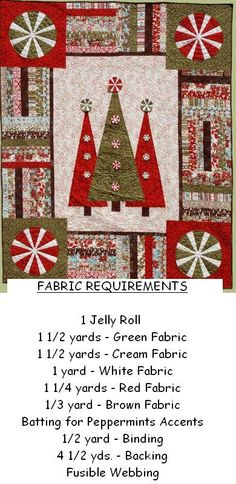 I like this pattern simply for the peppermint candies in the corners, done in christmas fabrics with the white would be really cute.  Free Christmas Quilting Ideas | Christmas Quilt Patterns - Erica's Craft & Sewing Center