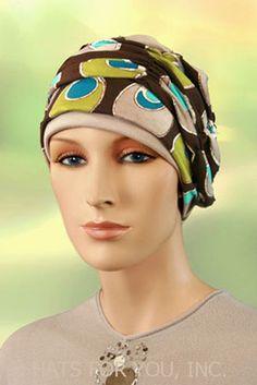 $19.50 - Dimensional Dots Shirred Cap     #cancer #chemo #alopecia #hair loss