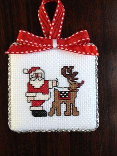Santa & reindeer cross stitch Christmas ornament.